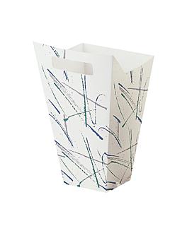 """recipientes pop corns con asa """"volare"""" 250g 320 g/m2 10x26,5x16,5 cm blanco cartoncillo (300 unid.)"""