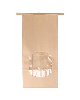 sacchetti sos con chiusura con finestra 60 g/m2 + 25µ opp 12+6,5x24,6 cm naturale kraft (500 unitÀ)