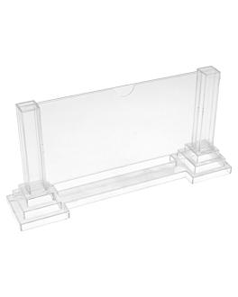 """porta menÚs """"columnas"""" apaisado 15x8 cm transparente ps (30 unid.)"""