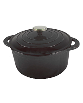 cocotte redonda con tapa 5,8 l Ø 28 cm negro hierro (3 unid.)