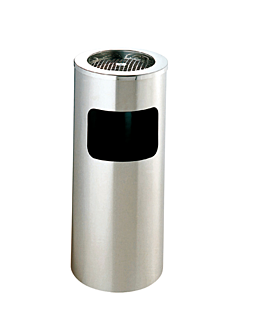 ashtray/bin, cylindrical Ø 25x60,5 cm silver stainless steel (1 unit)