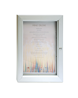 menÜ-halter, beleuchtet din a3 52x40x3,2 cm silberfarben metall (1 einheit)