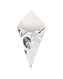 cardboard cones 'thepack times' 100 g 230 gsm 12,5x22 cm white nano-micro corrugated cardboard (1600 unit)