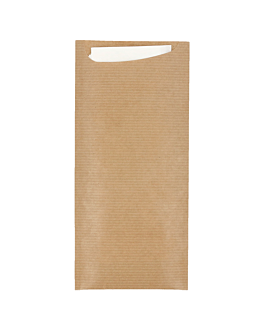 cutlery sachets + napkin 'just in time' 80+10pe gsm 8,5x19,5 cm natural kraft ribbed (250 unit)