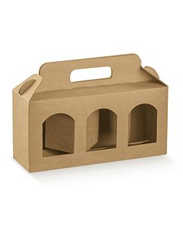 100 u. cartons porte 3 pots 25x8x12 cm naturel kraft (1 unitÉ)