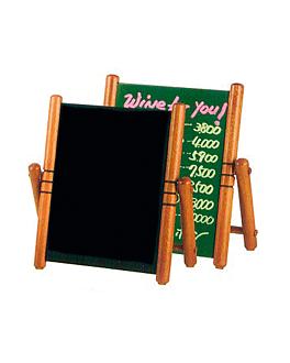 pizarra / cartel sobremesa 32x32 cm negro madera (1 unid.)