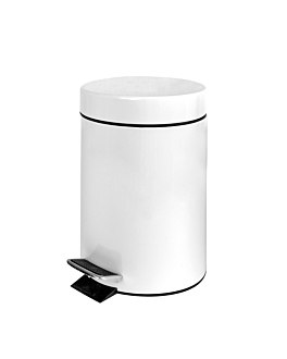 pedal bin with interior receptacle 3 l Ø 17x24,5 cm white steel (1 unit)