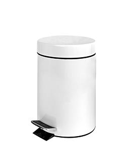 pattumiera a pedale con ricettacolo interiore 3 l Ø 17x24,5 cm bianco acciaio (1 unitÀ)