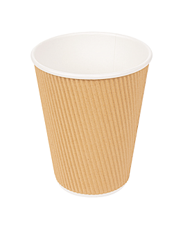 double wall corrugated cups for hot drinks 360 ml 300 + 250 + 18 pe g/m2 Ø9/6x11 cm brown cardboard (1000 unit)