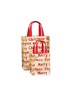 bags - christmas 20+10x25 cm natural jute (10 unit)