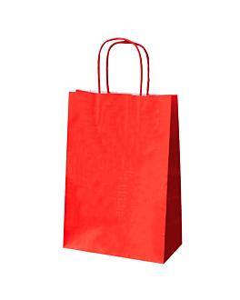 bolsas sos con asas 80 g/m2 20+10x29 cm rojo kraft (250 unid.)