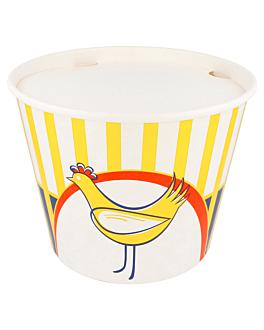 copos gigantes frango + tampa 4500 ml 380 + 33pe g/m2 Ø 21,6/16x16,8 cm branco cartÃo (240 unidade)