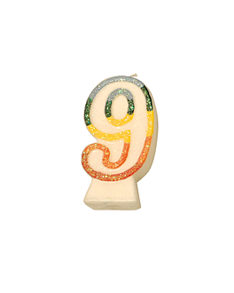 bougies anniversaire n.9 givre 9 cm blanc cire (24 unitÉ)