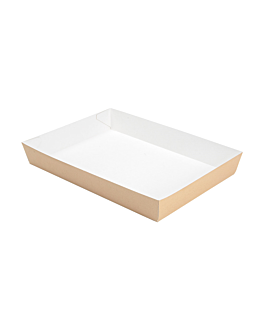 food trays 'thepack' 230 gsm 25,5x18x3,7 cm natural nano-micro corrugated cardboard (130 unit)