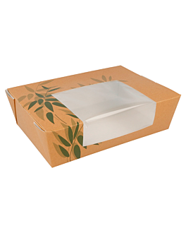 boxes rectangular frontal window 'feel green' 1980 ml 300 gsm 19,8x14x6,4 cm natural kraft (200 unit)