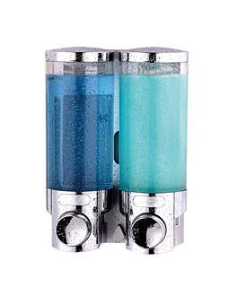 dispensador sabÃo 2x400 ml 13,5x9x19,2 cm prateado abs (1 unidade)