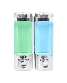 soap dispenser 2x400 ml 13,7x6,3x20,3 cm silver abs (1 unit)