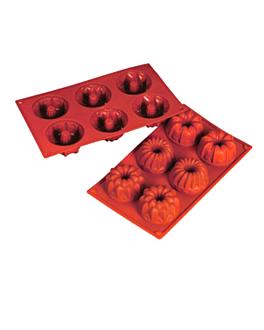 molde briochette Ø 7,5x4 cm 17,5x30 cm rojo silicona (1 unid.)