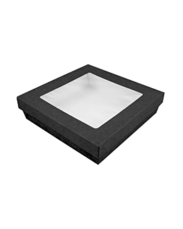 small boxes+lids w/window 1000 ml 290 + 18 pe gsm 18,5x18,5x4 cm black cardboard (200 unit)