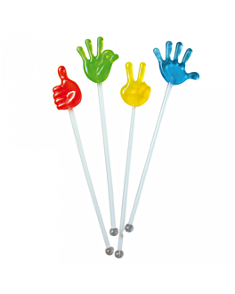 "stirrers drinks ""hands"" 21 cm assorted ps (50 unit)"