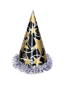 sombreros hologrÁficos cÓnicos 23 (h) cm negro cartoncillo (12 unid.)