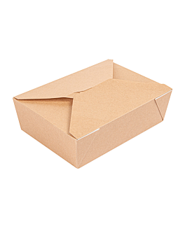 microwavable boxes rectangular 'thepack' 1980 ml 240 + 12pp gsm 19,6x14x6,2 cm natural nano-micro corrugated cardboard (200 unit)