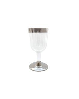 12 copas vino con ribete plata 180 ml transparente ps (30 unid.)