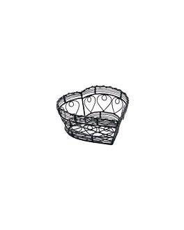 """basket """"small heart"""" 18x18x8 cm noir acier (1 unitÉ)"""