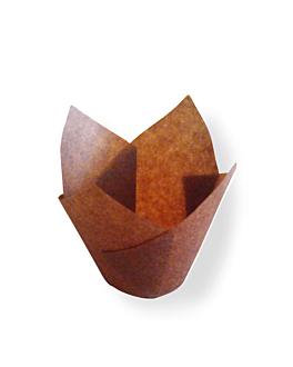 moldes cupcake 'tulip' 50 g/m2 15x15 cm marrÓn perg. antigrasas (1000 unid.)