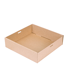catering boxes s 375 gsm 22,5x22,5x6 cm natural kraft (100 unit)