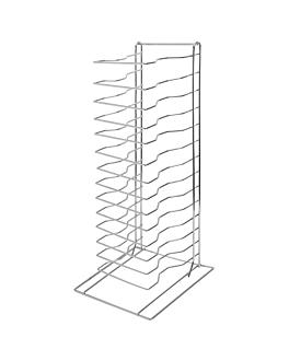 pizza rack mit 15 ebenen 30,4x30,4x68 cm silberfarben metall (1 einheit)