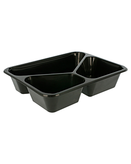 3 compartments microwavable trays 22,5x17,5x4,5 cm black pp (500 unit)