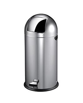 poubelle push avec pÉdale 22 l Ø 33x63 cm argente inox (1 unitÉ)