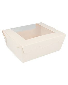rectangular boxes with frontal window 1350 ml 300 gsm 15,3x12,1x6,4 cm white cardboard (300 unit)