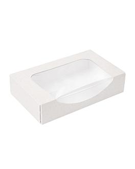 contenitori sushi+finestra 'thepack' 230 g/m2 + opp 19,7x12x4,5 cm bianco cartone ondulato a nano-micro (400 unitÀ)