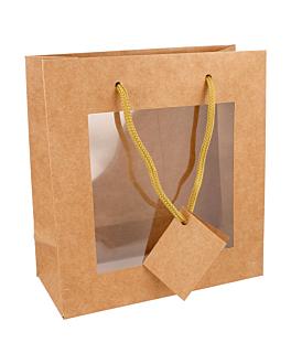10 u. bags with window 18+8x19 cm natural kraft (1 unit)