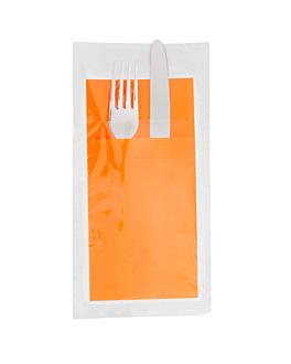 ind. wrap. napkins ecolabel f.1/8 'double point' 18 gsm 40x39 cm clementine tissue (300 unit)