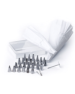 piping nozzles 32 pieces 1,5x3,2 cm silver stainless steel (1 unit)