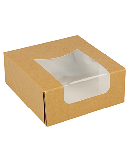 sushi boxes+frontal 300 gsm 10x10x4 cm brown cardboard (400 unit)