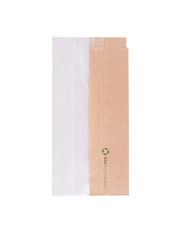 sandwich bags with eco window 'corner window' 40 gsm 9+5,5x18 cm natural kraft (250 unit)