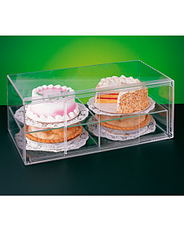 elongated cake display elongated 2 levels 64x33x25,5 cm clear acrylic (1 unit)