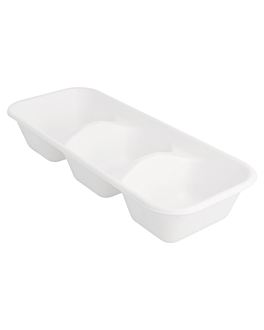 containers 3 compart. 'bionic' 850 ml 26x11,1x4,7 cm white bagasse (480 unit)