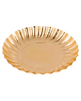 mini platos 400 + 17 pe g/m2 Ø 9 cm dorado cartÓn (100 unid.)