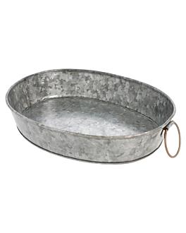 vassoio ovale 25,5x20,5x5 cm zincato acciaio (1 unitÀ)