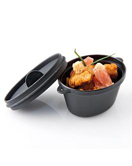 microwaveable mini cooking pots+lids 65 ml 9,1x5,8x4,5 cm black pp (216 unit)