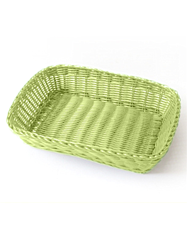 rectangular baskets imitation wicker 30x22x7 cm aniseed green pp (12 unit)