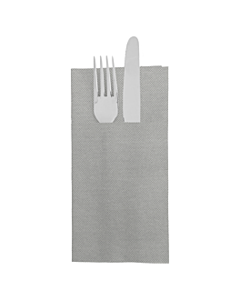 servilletas canguro 'ecolabel - double point' 18 g/m2 39x40 cm gris tissue (1400 unid.)
