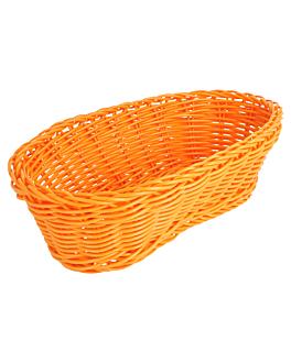cestas sÍmil mimbre alargadas 23x9x8 cm naranja pp (12 unid.)