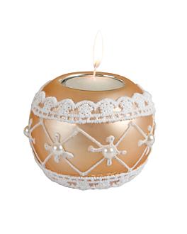 base pour tea-lights 8x8x7 cm or verre (4 unitÉ)
