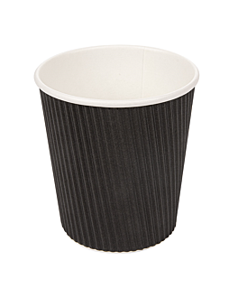 cups for hot drinks double wall, corrugated 180 ml 260 + 250 + 18 pe g/m2 Ø7,2/5,3x7,8 cm black cardboard (1000 unit)